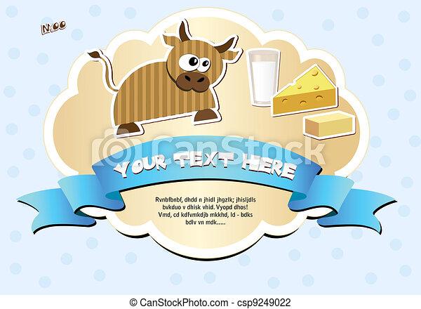 etiqueta, vaca, leche, queso, mantequilla - csp9249022