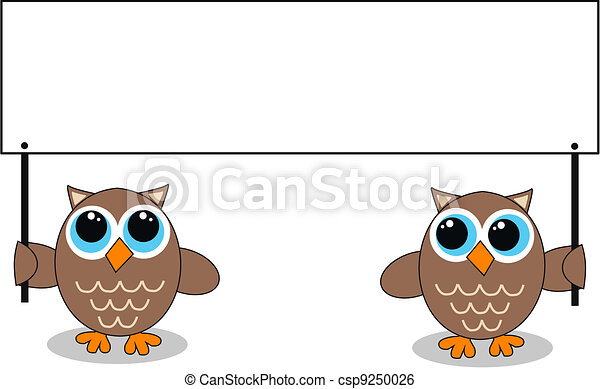 two owls with a placard - csp9250026