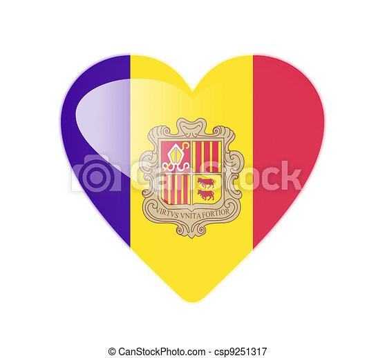 Andorra 3D heart shaped flag - csp9251317