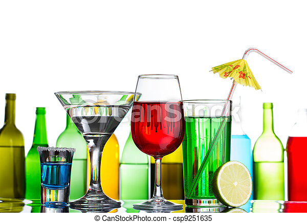 Different alcohol drinks and cocktails on bar - csp9251635