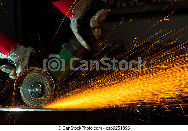 sparks while grinding iron - csp9251896