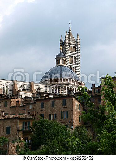 Siena - Duomo towering over the historic city center - csp9252452