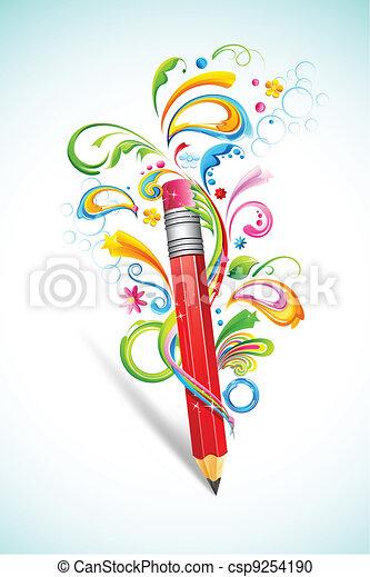Floral Pencil - csp9254190
