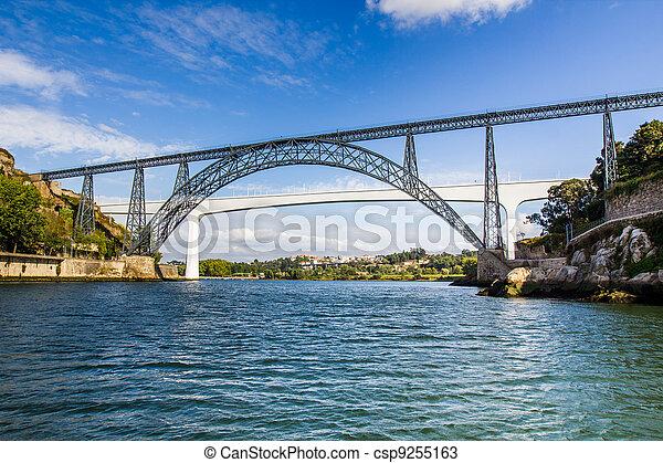 Metallic and Beam Bridges, Porto, River, Portugal - csp9255163