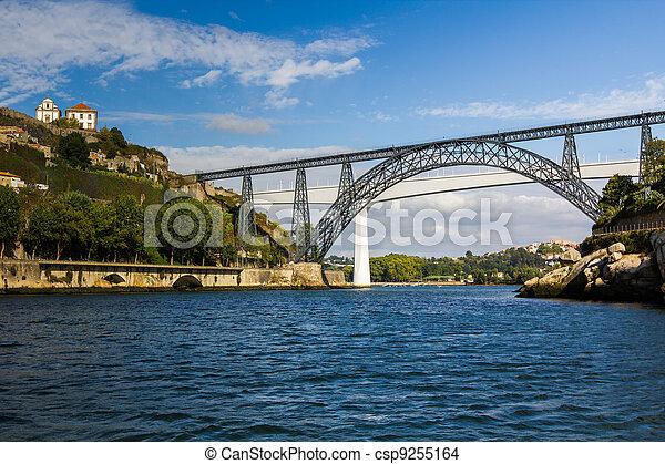 Metallic and Beam Bridges, Porto, River, Portugal - csp9255164
