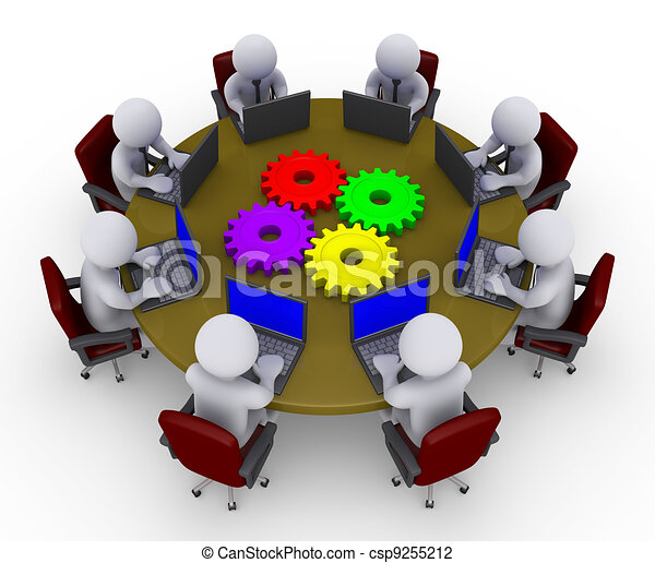 Businessmen around table with laptops and four cogs - csp9255212