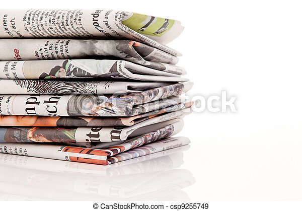 stacks of old newspapers and magazines - csp9255749