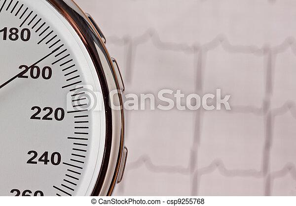 blood pressure measurement and ecg curve. - csp9255768