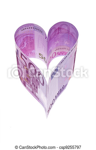 euro banknotes in the form of a heart - csp9255797