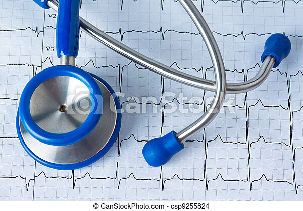 blood pressure measurement and ecg curve - csp9255824