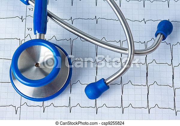 blood pressure measurement and ecg curve - csp9255824