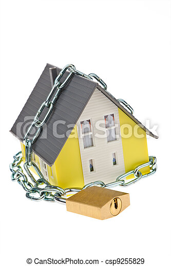 alarm safe house with chain - csp9255829