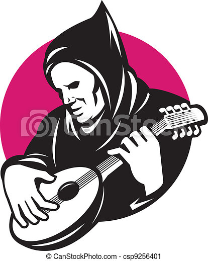 Hooded Man Playing Banjo Guitar - csp9256401