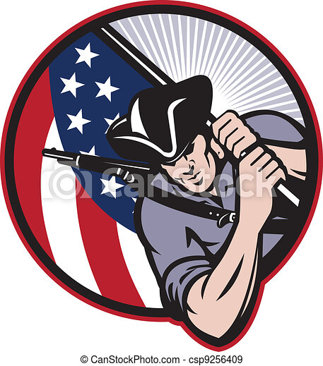 American Patriot Minuteman With Flag - csp9256409