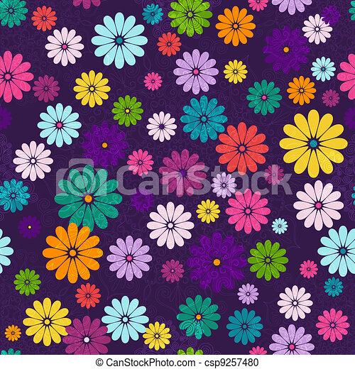 Seamless dark floral vivid pattern - csp9257480