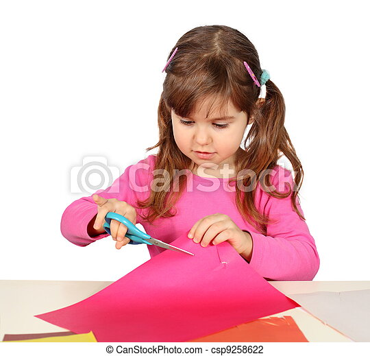 Little Child Girl Cutting with Scissors - csp9258622