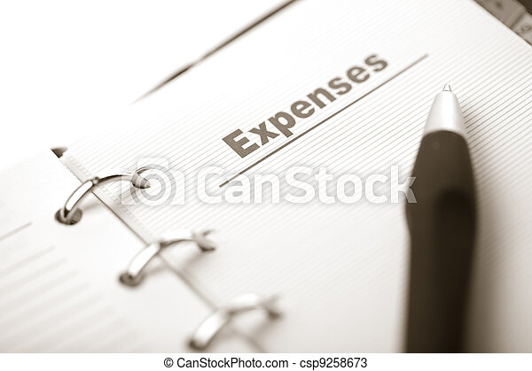 organizer and pen isolated. expenses page - csp9258673