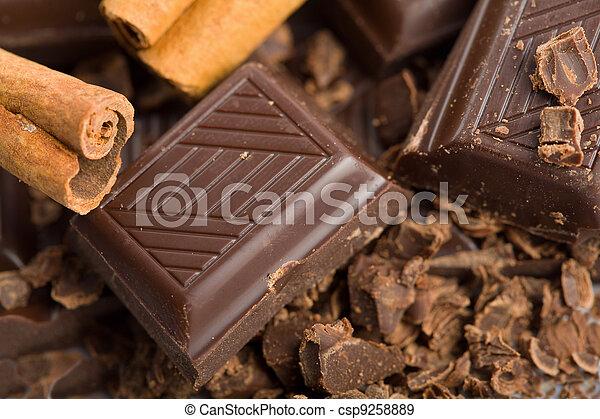 broken pieces of chocolate and cinnamon - csp9258889