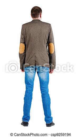 Back view of men in jacket suit and jeans. - csp9259194