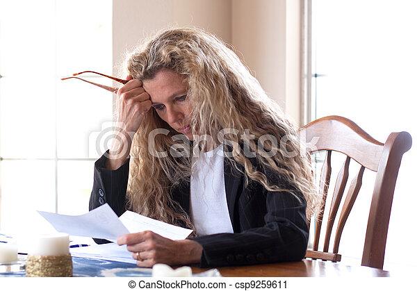 Woman worried about bills  - csp9259611