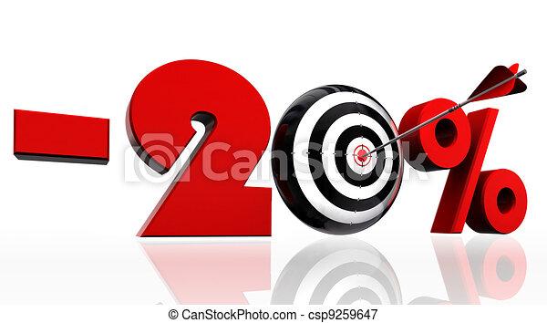 twenty per cent discount symbol with conceptual target - csp9259647
