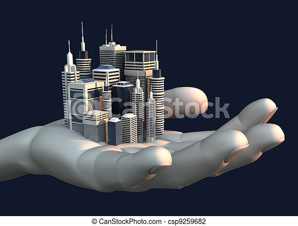 Skyscraper City In The Palm Of A Hand - csp9259682
