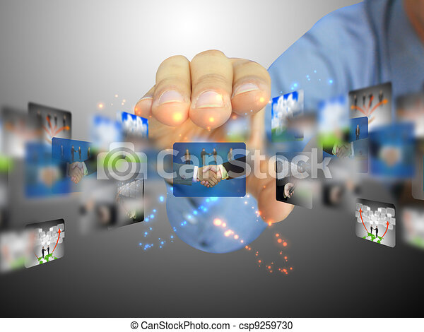 hand holding business collection  - csp9259730