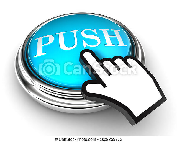 push blue button and pointer hand - csp9259773