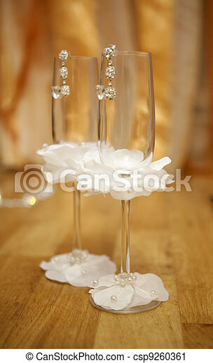 Pair empty decorated wineglasses - csp9260361