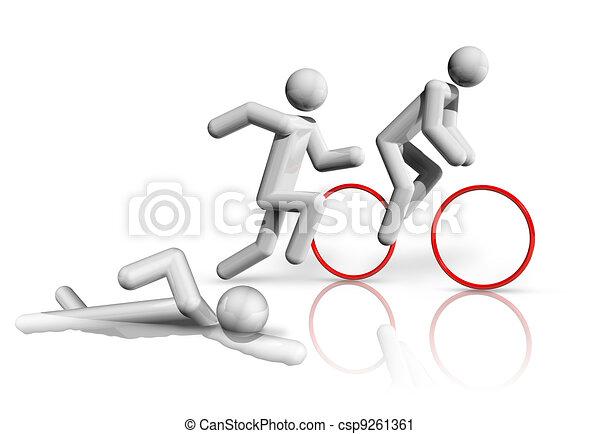 Triathlon 3D symbol - csp9261361
