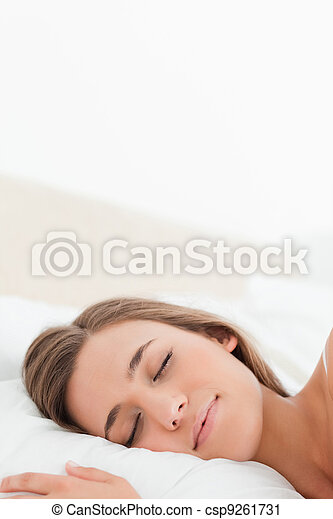 Close up, Woman in bed asleep - csp9261731