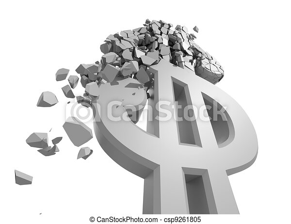 Rendered image of Dollar sign crumbling - csp9261805