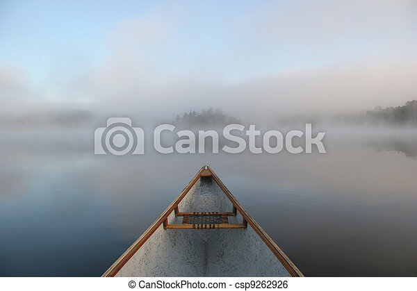 Canoe Bow on a Misty Lake - csp9262926