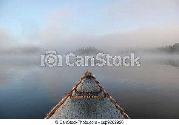 Canoe Bow on a Misty Lake - csp9262926