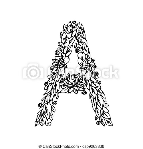 Vector Of Letter Of Foliage Doodle Csp9263338 Search