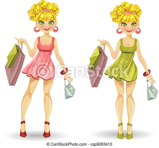 blond with shopping bags - csp9263410