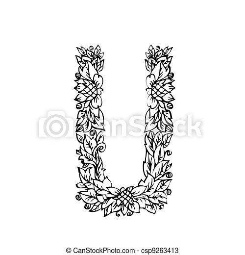 letter of foliage doodle - csp9263413