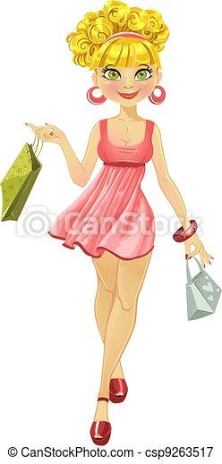 shopper woman in a pink dress - csp9263517