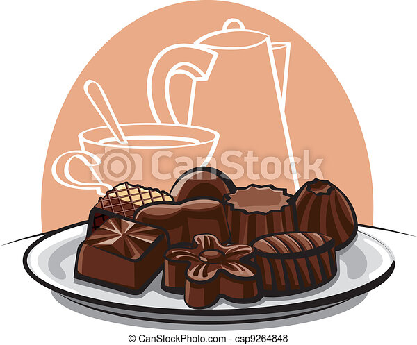 Assorted chocolate sweets - csp9264848