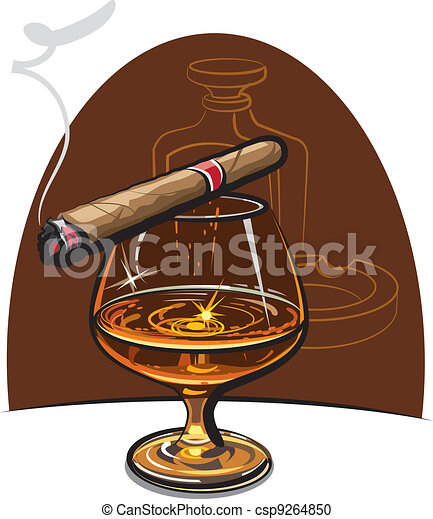 Cognac and cigar  - csp9264850