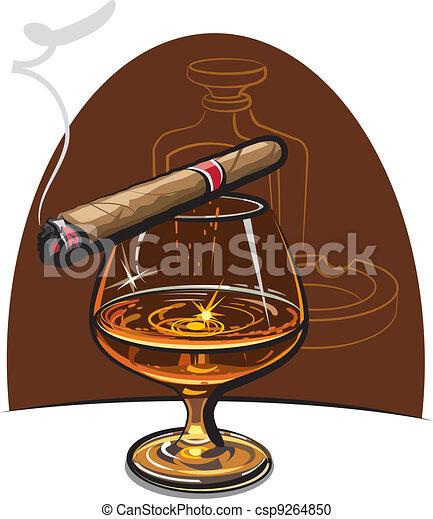 Cognac and cigar  - csp9264850