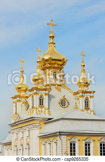 White Cathedral with golden cupolas in Peterhof - csp9265335