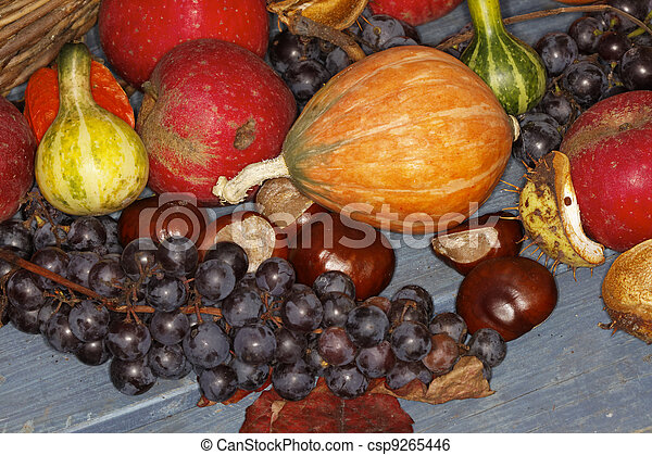 Autumn fruits, pumpkins, chestnuts - csp9265446