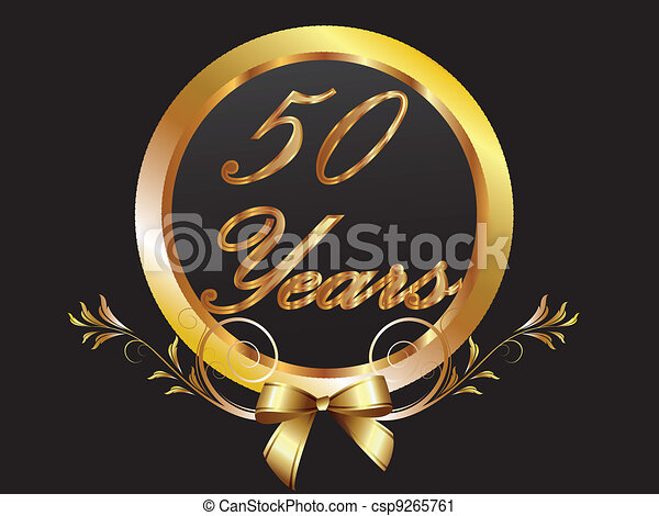 Gold 50th anniversary birthday vect - csp9265761