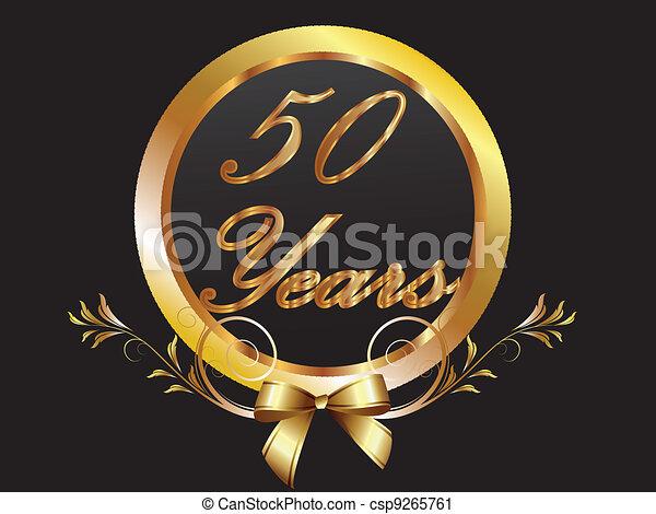 Gold 50th anniversary birthday vect - csp9265761