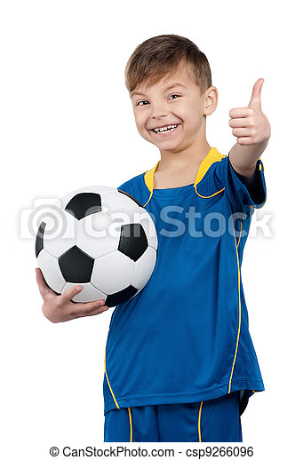 Boy in ukrainian national soccer uniform - csp9266096