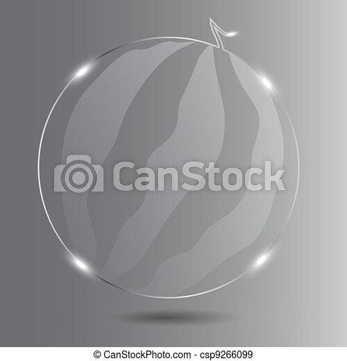 Realistic glass watermelon. Vector illustration. - csp9266099