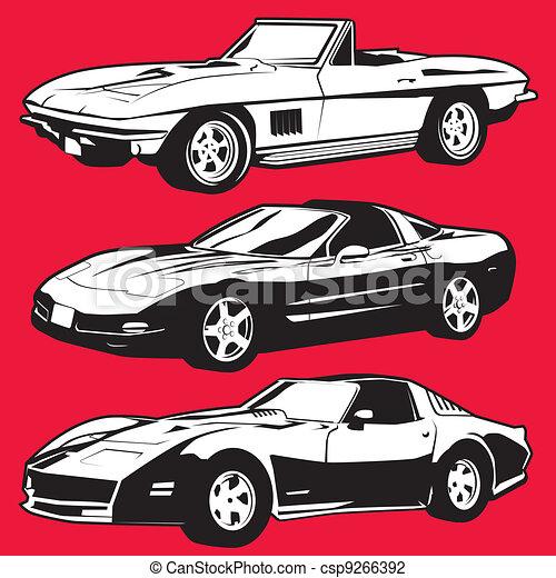 Three Corvettes - csp9266392