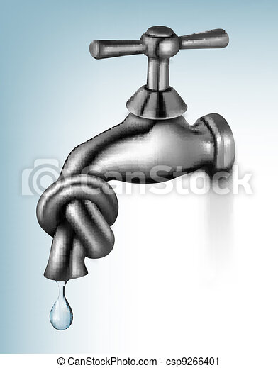 Water tap tied in knot  - csp9266401