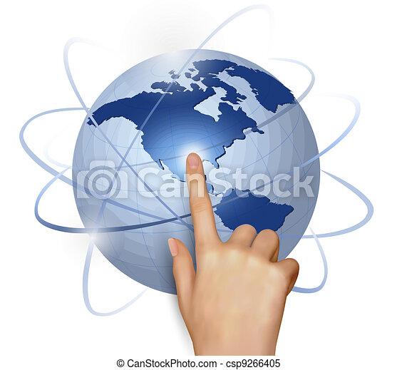 Finger touching globe - csp9266405